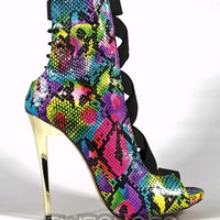 """Dioselin Pink Rainbow Snake Elastic Strap Ankle Boots  - 4.75"""" Heels"""