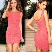 Elegant Sleeveless Back Open Lace Dress
