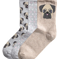 H&M - 3-pack Socks - Light beige - Ladies