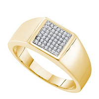 Diamond Micro Pave Mens Ring in 10k Gold 0.15 ctw
