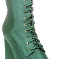 Green Lace Up Pointy Toe Satin Vegan Women's Boots Midcalf