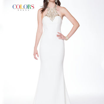 Colors 1723 Off White Jeweled Neckline Prom Evening Dress
