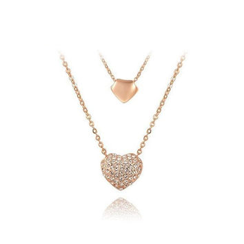 New Arrival Shiny Stylish Jewelry Gift Strong Character Heart Pendant Necklace [9260907463]