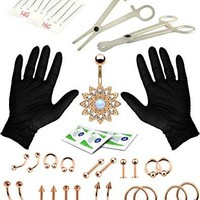 BodyJ4You Body Piercing Kit Rose Goldtone Tongue Tragus Ear Belly Ring Jeweled Flower Nipple 36 Pieces
