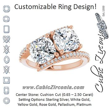 Cubic Zirconia Engagement Ring- The Nellie (Customizable Double Cushion Cut 2-stone Design with Ultra-thin Bypass Band and Pavé Enhancement)