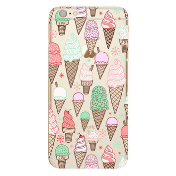 Ice Cream Cone Collage TPU Soft Silicon Transparent Clear Back Case Cover for Apple iPhone 4 4s 5 5s 5c SE 6 6s 6 Plus 6s Plus 7 & 7 Plus