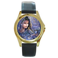Spirit of Winter Fairy / Elf Lady on a Womens Gold Tone Watch with Leather Band