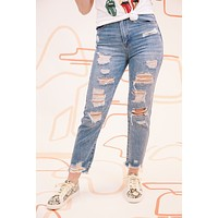 Huron High Rise Distressed Girlfriend Jeans, Medium Denim
