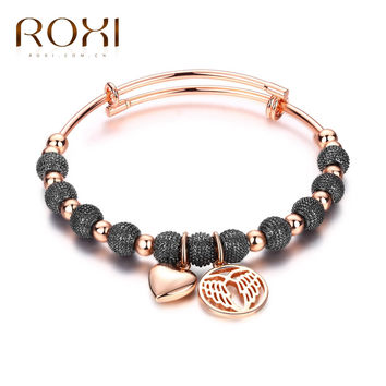 ROXI Brand Bracelet & Bandgles For Women Gift Fashion Jewelry Rose Gold Color Bracelet Beads Make Jewelry Charm Lovely Pendant