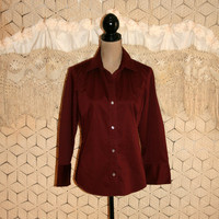 Cranberry Red Womens Shirt Red Cotton Blouse Casual Blouse Long Sleeve Button Up Banana Republic Size 12 Size 14 Large Blouse Women Clothing