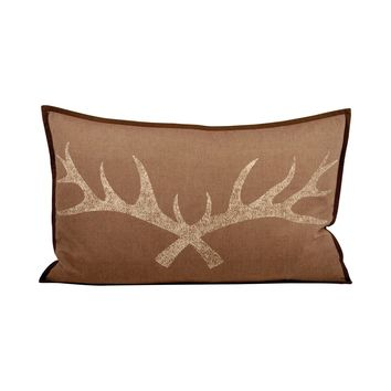 Antler 26x16 Lumbar Pillow Dark Earth,Crema