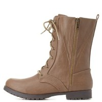 Qupid Zipper-Trim Combat Boots by Charlotte Russe - Taupe