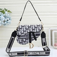 Dior women's graffiti print logo shoulder bag