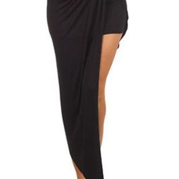 Solid Wrapped Twisted Surplice Knot Detail Front Draped Asymmetric Hem Skirt