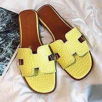 Hermes Trending Women Casual Leather Candy Color Slippers Sandals Shoes Yellow