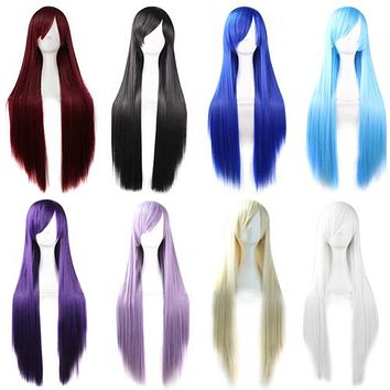 Fashion Girls Women Long Cosplay Oblique Bangs Straight Full Wigs Hair Extension
