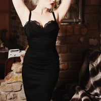 Pinup rockabilly stretch black lace wiggle dress
