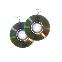 Cyber Punk Mini Disc CD Compact Disc Earrings - Vintage 90's Inspired Handmade Jewelry Large Statement Earrings Floppy Disc