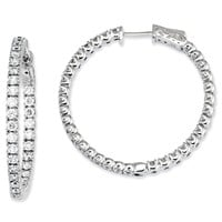 Sterling Silver CZ 68 Stones In and Out Round Hoop Earrings QE7571