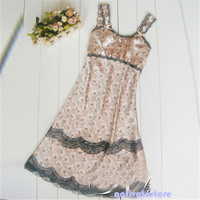 Sexy Women Lace Lingerie Imitated Silk Brace Sleepwear Nightgown Dress JX0093 Free Shipping