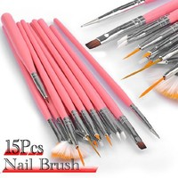 Leegoal 15pc Nail Art Design Dotting Brush Painting Pen Tool Set Pink Stick DIY Fit Tips