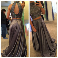 Two Piece High Neck A-Line Prom Dresses,Evening Dresses