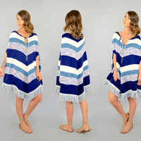 70's Space Dyed STRIPE Poncho