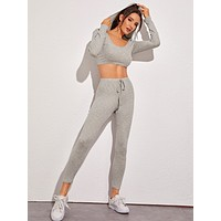 Scoop Neck Hooded Crop Sports Tee With Leggings
