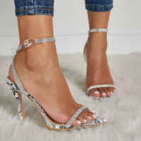 Hot style hot selling sexy snakeskin point diamond heels