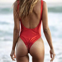 Women Push-up One Piece Swimsuit Designer Womens Swimwear 2016 One Piece High cut Swimsuit Sexy Backless Red Black Beachwear