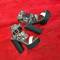 Samba Multi Buckle Strap Open Toe Chunky Heel Platform Shoes 6-11 - Black Snake
