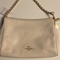 Coach F22212 Carrie Crossbody Chalk Pebble Leather Chain Bag