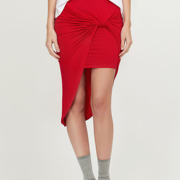 LE3NO Womens Asymmetrical Banded Waist Wrap Cut Out Hi Low Skirt (CLEARANCE)