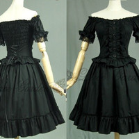 BLACK DRESS COSPLAY COTTON SHORT SLEEVES GOTHIC GOTH