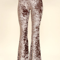 Cosmic Cutie Taupe Velvet Flare Pants