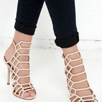 Steve Madden Slithur Blush Nubuck Leather Caged Heels