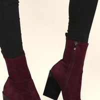 Kendall + Kylie Felicia Dark Red Suede Pointed Mid-Calf Boots