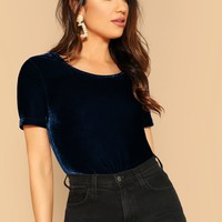 Scoop Neck Velvet Top