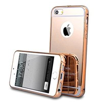 For iPhone 5 5s Case, Roybens Luxury Metal Air Aluminum Bumper Detachable + Mirror Hard Back Case 2 in 1 Cover Ultra-Thin Frame For Apple iPhone 5 5s - Retail Packaging(Gold)
