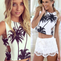 Hot Beach Palm Tree Leaves Print Hollow Vest Camisoles + Random Necklace Gift