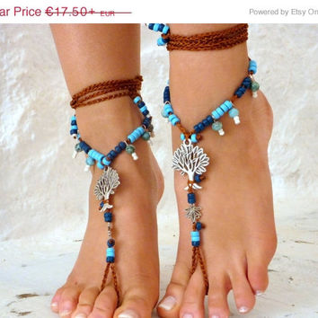 PROMO SALE Barefoot Sandals, Nude shoes, silver tree,  Foot  jewelry, Wedding, Victorian Lace, Sexy, Yoga, Anklet , Bellydance, Steampunk, B