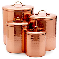 Assorted Canisters, Copper, Set of 4, Kitchen Canisters, Canning & Spice Jars