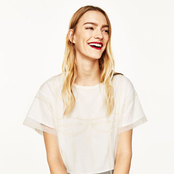 DOUBLE LAYER TULLE T-SHIRT DETAILS