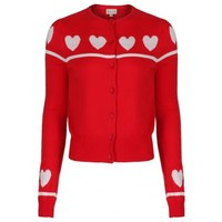 'Agnes' Heart Print Red Knitted Cardigan