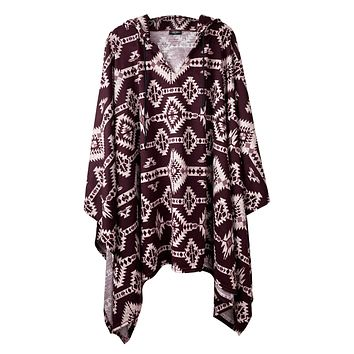 Burgundy Aztec Pullover Poncho With Hood