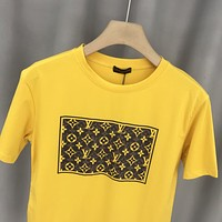 Louis Vuitton LV New Hot Sale Lettering Couple Casual Top T-Shirt