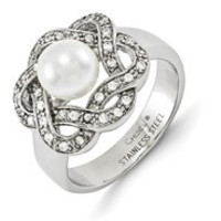 Stainless Steel Freshwater Cultured Pearl & CZ Ring