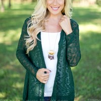 Crazy About Lace Cardigan in Forest Green