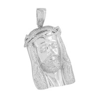 White Jesus Face Pendant Christ Charm Simulated Diamonds Pave Set