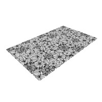 "Julia Grifol ""Candy Flowers In Black"" Gray White Woven Area Rug"